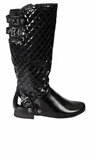 Hidden Fashion Womens Ladies Diamond Quilted Faux Patent Leather Flat Calf Boots