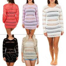 New Ladies Womens Long Sleeve Crochet Knit Knitted Jumper Mesh Top Size 8 10 12