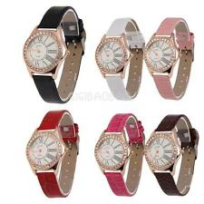 #gib Romantic and Noble Ladies Watch Leather Band Round Face with Crystals