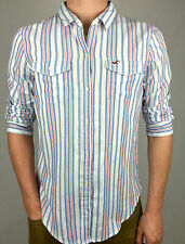 HOLLISTER. 100% Cotton Men's Casual Long Sleeve Shirt. Blue Stripe. Sz S, M & L.