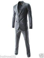 (JES) TheLEEs Slim Fit Single Breasted 2 Button Notched Lapel Dress Suit Set