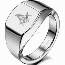 12mm Silver Tone High Polished Tungsten Carbide Men's Masonic Freemason Ring