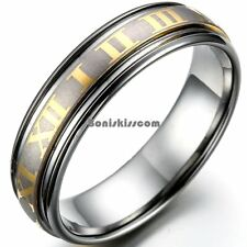 6mm Gold Tone Roman Numeral Center Matte Tungsten Carbide Ring Wedding Band