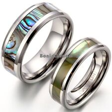 Comfort Fit Tungsten Carbide Ring Abalone Shell Inlay Engagement Wedding Band