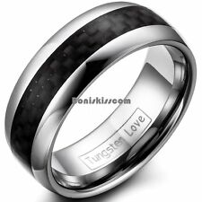 8mm High Polished Tungsten Carbide Dome Ring Black Carbon Fiber Center Inlay