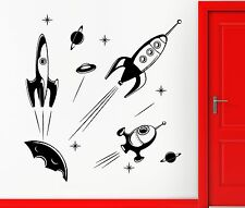 Wall Stickers Vinyl Decal Rocket Space Spaceship Astronaut Stars Decor (z2307)