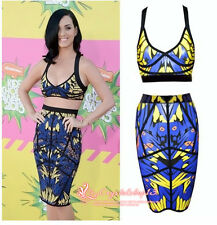 Sexy Katy Perry Beyonce bodycon dress peacock print crop top skirt set cocktail
