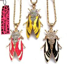 Betsey Johnson bright crystal colours glazed vivid cicada Necklace 3 color#464L