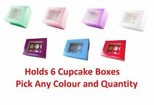 """4"""" Inch Deep Cupcake Cake Boxes Holds 6 Pick Any Colour & Quantity"""