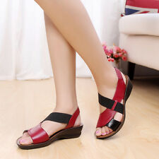 NEW Womens shoes leather flats wedges Gladiator comfortable mother sandals