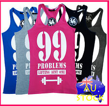 WOMENS 99 Problems NEW STRINGER LIFTING Y-Back T-Back GYM Tank Training | WYBS