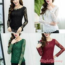 Ladies Lace Crochet Blouse Women Sheer Long Sleeve Shirt Bottoming Tops 4 Colors