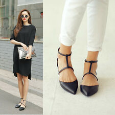 Hot Women Elegant Pointy Toe Flat Slip On T-strap Cut Out Zip Date Party Fashion