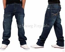 ECKO MENS BOYS DAIMLER STAR RELAXED FIT WEAR JEANS TIME IS G MONEY NAPPY HIP HOP