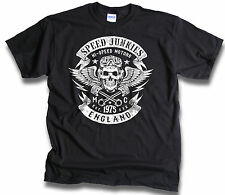 Speed Junkies London Junkie Biker Skull Wings Pistons Patch Mens T Shirt Sm -3XL