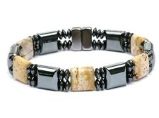 Men's Magnetic Hematite with Brown Picture Jasper Stones 10,000 Gauss free ship