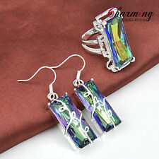 TOP Quality HUGE Rainbow Fire Mystical Topaz Silver Earrings Ring Jewelry SET