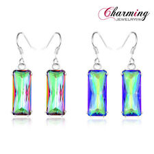 Free Shipping ! HOT Fashion Rainbow Mystical Topaz Gems Silver Lady Earrings