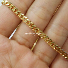 "18""-36"" 4mm High Polished Yellow Gold Plated Stainless Steel Men&Women Necklace"