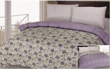 LUXURIOUS REVERSIBLE COMFORTER, LILAC/FLOWER PRINT, QUEEN KING TWIN