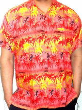 MENS LOUD PINK YELLOW PALM TREE HAWAIIAN CARIBBEAN VIBES SHIRT S M L XL XXL XXXL