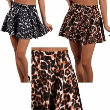 Sexy Animal Print Stretch A-Line Flare Pleated Skater Peplum Pleated Mini Skirt