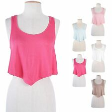 Sexy Candy Colors Sleeveless Scoop Neck Cropped Racerback Tank Top Irregular Hem