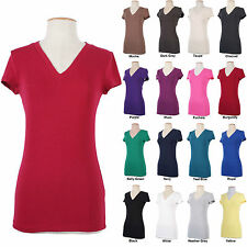 V Neck Cotton Basic Stretch T-shirt Solid Casual Short Sleeve Top Tee Easy Wear