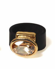 Leather Ring with 24K Plated Gold & Swarovski Crystal Black Shadow | Champagne