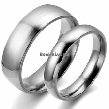 Silver Stainless Steel Dome Ring Engagement Plain Wedding Anniversary Band