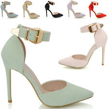LADIES POINTED HEELS ANKLE STRAP PARTY PROM WOMENS STILETTO COURT SHOES SIZE 3-8