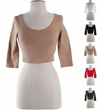Women Scoop Neck 3/4 Sleeve Cropped Belly Tee Shirts Deep Back Solid Plain Top