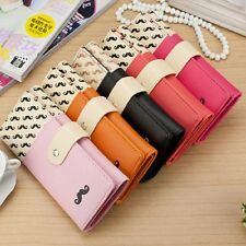 Nice Women's Zipper Leather Handbag Purse Wallet Card Bag Moustache Pattern Y