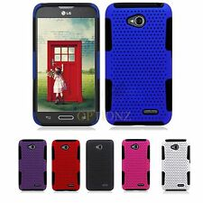 LG Optimus L70 D325 MS323 Exceed II 2 Dual Layer Hybrid Net Mesh Case Cover