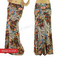 Women Retro Multi Colored Floral Flower Paisley Print Rayon Long Maxi Skirt USA