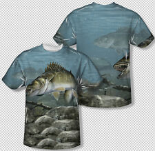 School Of Bass Feeding Grounds In River Photo All Over Print Youth T-shirt Top