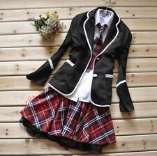 Japanese School Girl Uniform Cosplay Costume Black Red Tartan Dress Surcoat   P