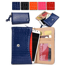 O Slim Universal Bicast Croc Leather Wristlet Pouch Clutch Case fits Mobile Cell