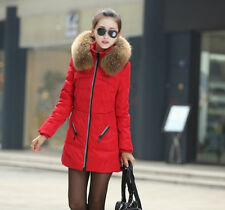 New Womens Lapel Fur Collar Zipper Thicking Jacket Trench Down Slim Coat a976