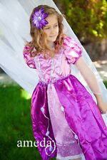 Gorgeous Girls Rapunzel Tangled Princess Purple Pink Party Dress Costume 2-8Y
