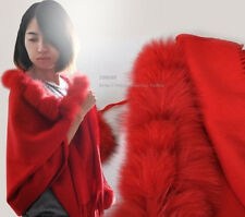 Hot Womens Real Genuine Wool Cashmere Fur Trim Cape Stole Shawl Coat Lady Warm