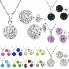 Fashion Shamballa Earring&Necklace&Charms Sets Silver Plated Jewelry Women Gift