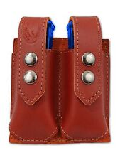 NEW Barsony Burgundy Leather Double Magazine Pouch Colt Kimber Compact 9mm 40 45