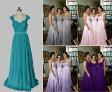 New Cap Sleeve Chiffon Beading Bridesmaid Evening Dress Size 6 8 10 12 14 16 18
