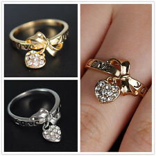 TRUE LOVE White Topaz Gems Real GOLD FILLED WEDDING RING Size 7 Jewelry Gift