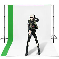 Photography Studio Black White Green Video Muslin Backdrop Background Stand Kit