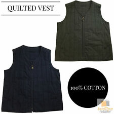 QUILTED VEST Military Style Army Top Sleeveless Jacket Mens Gilet 100% COTTON