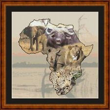 AFRICAN ANIMALS 14 COUNT CROSS STITCH CHART FREE PP WORLDWIDE