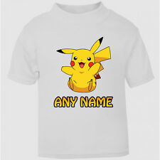 Personalised Pokemon Pikachu Tee t-shirt Boys Girls Top Age Size kids Party Gift