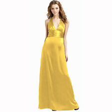 Halter Neck Silk Satin Formal Evening Bridesmaid Dress Party Ball Gown Yellow